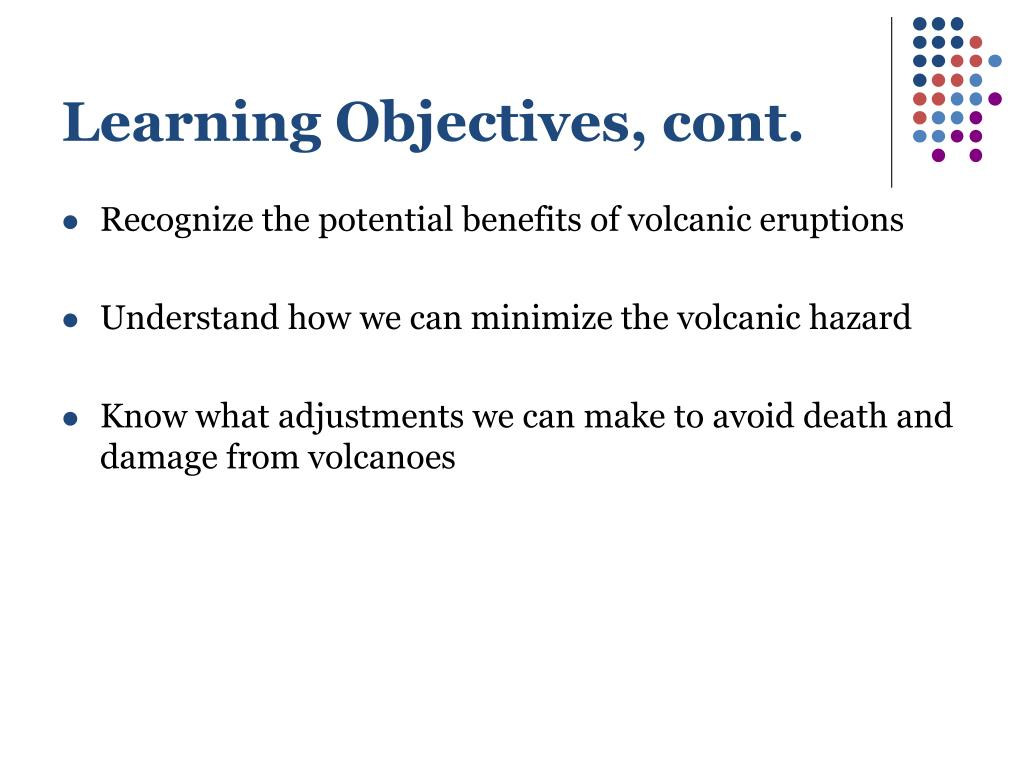 Learning Objectives, cont.