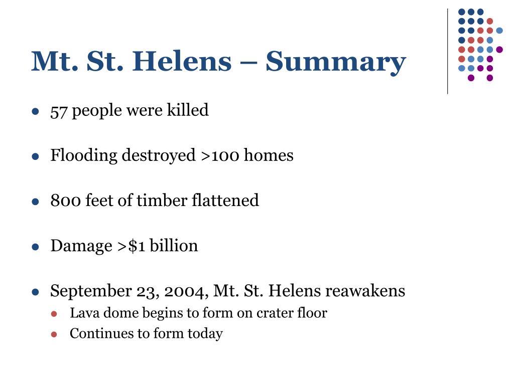 Mt. St. Helens – Summary