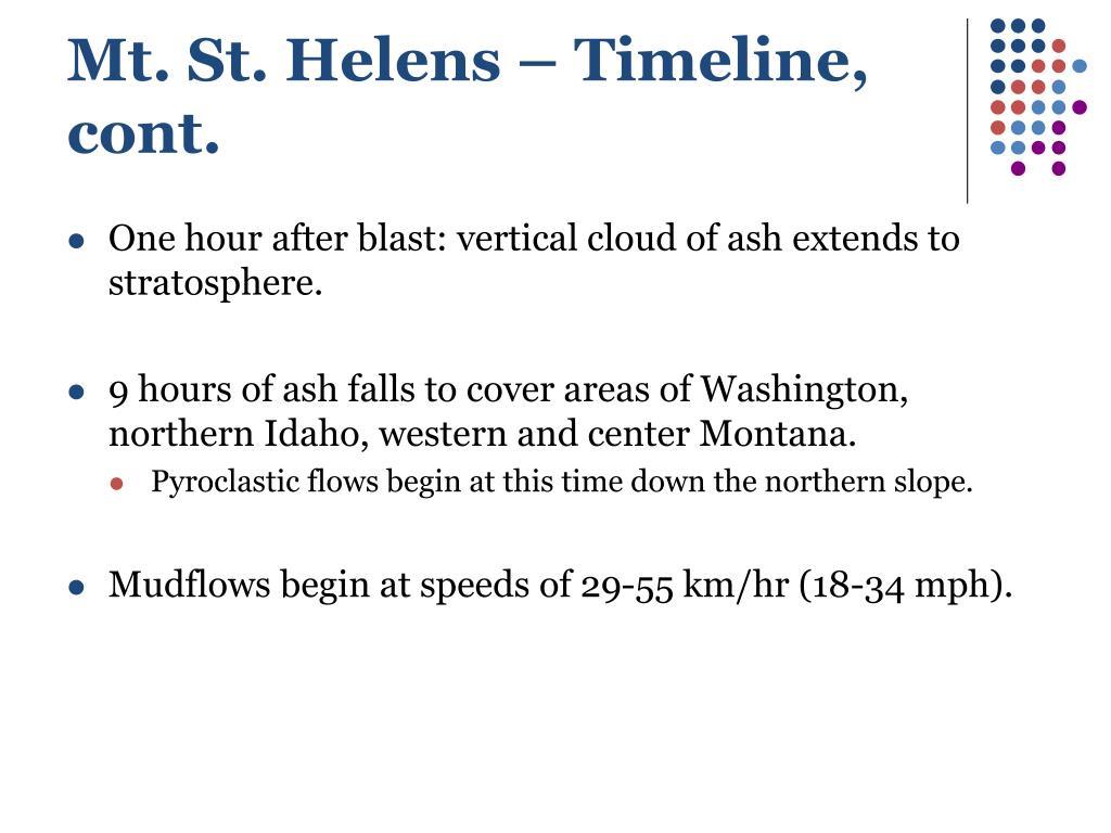 Mt. St. Helens – Timeline, cont.