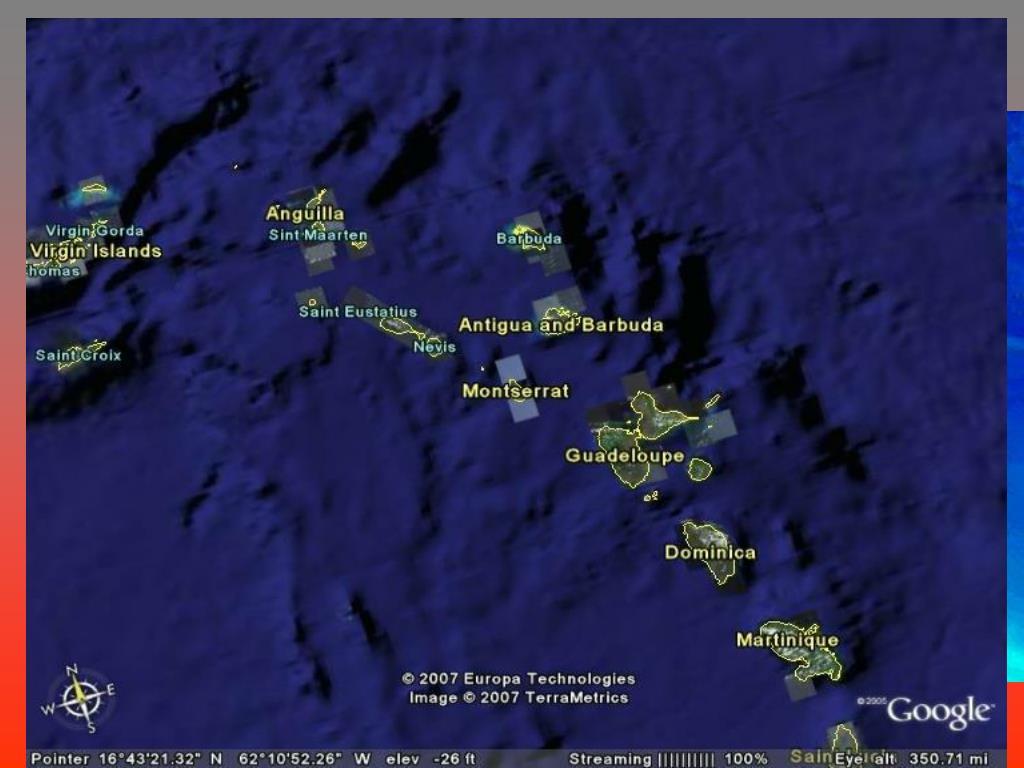 Montserrat Position – location of volcanoes in the Lesser Antilles arc