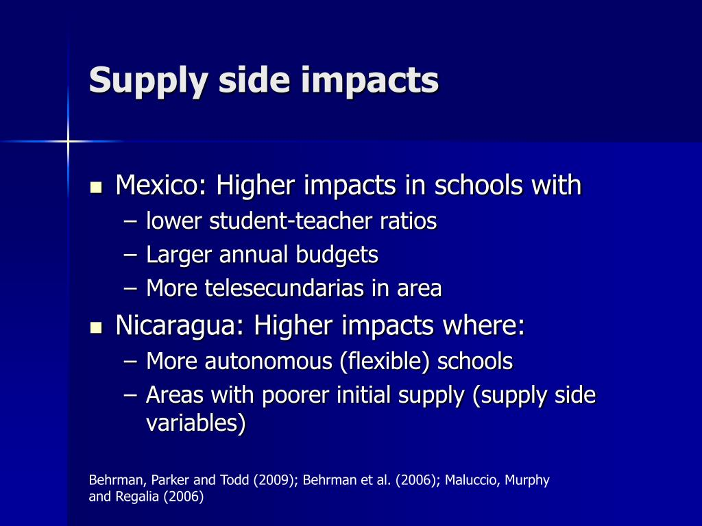 Supply side impacts