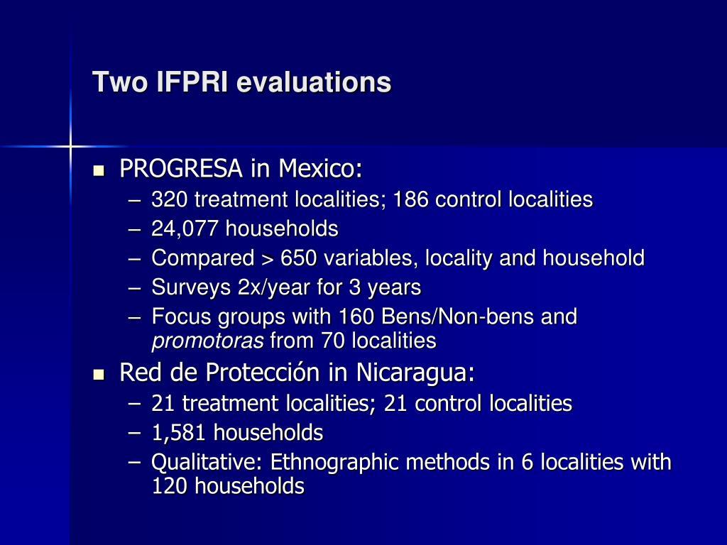 Two IFPRI evaluations