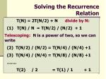 solving the recurrence relation