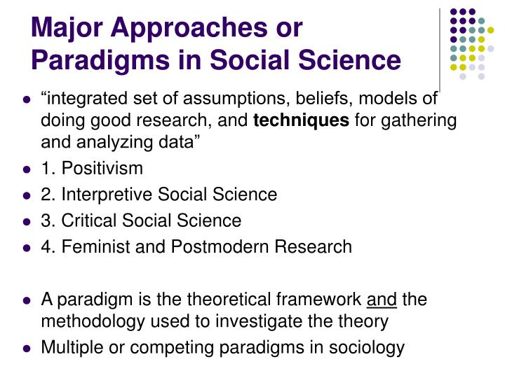 Major Approaches or Paradigms in Social Science