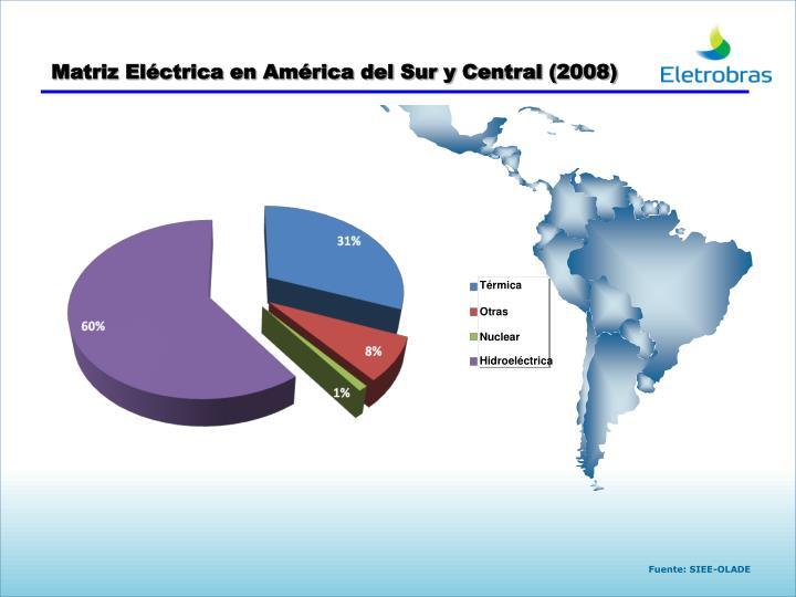 Matriz Eléctrica en América del Sur y Central (2008)