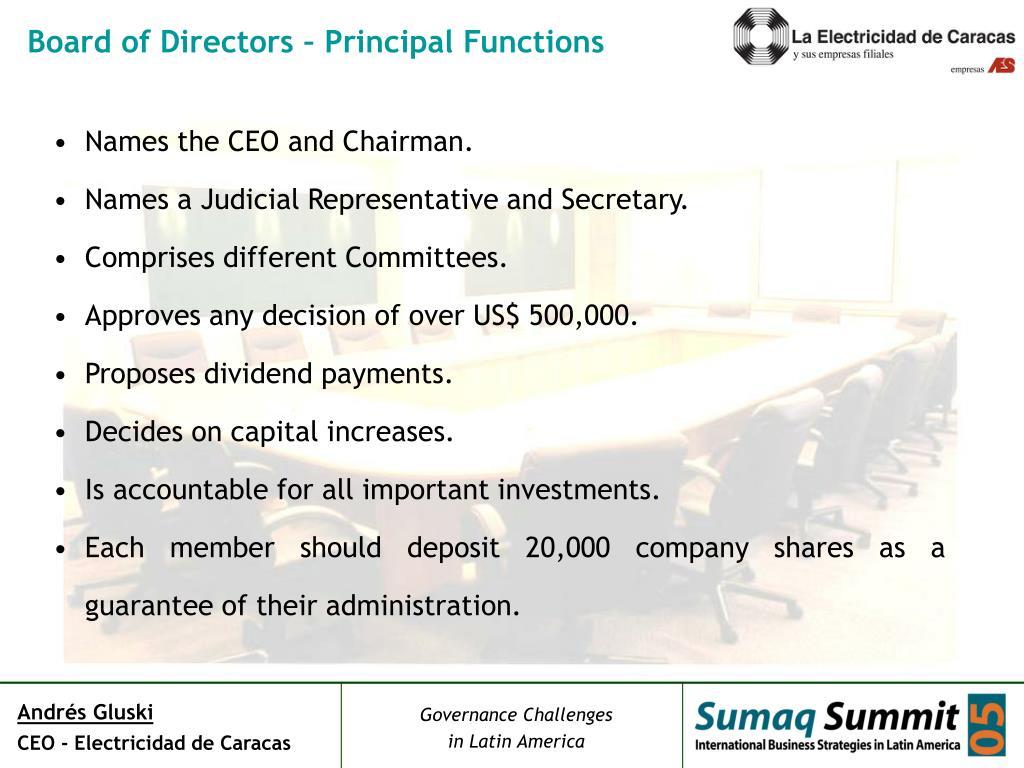 Board of Directors – Principal Functions
