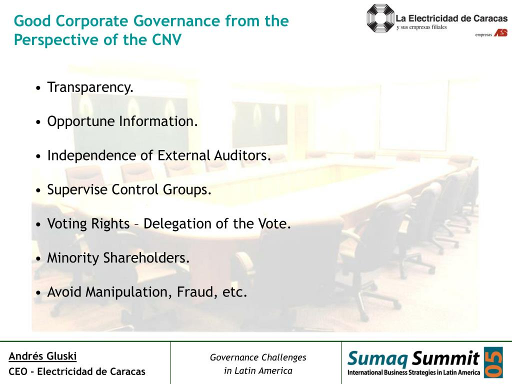 Good Corporate Governance from the