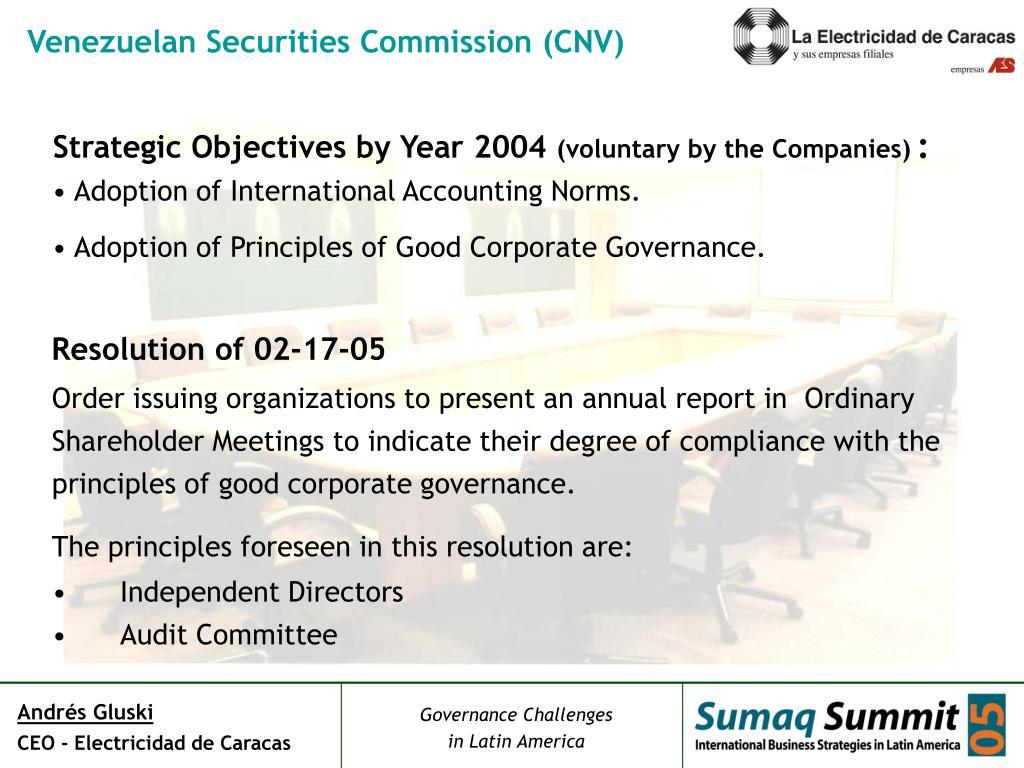Venezuelan Securities Commission (CNV)