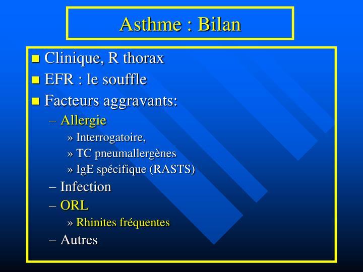 Asthme : Bilan