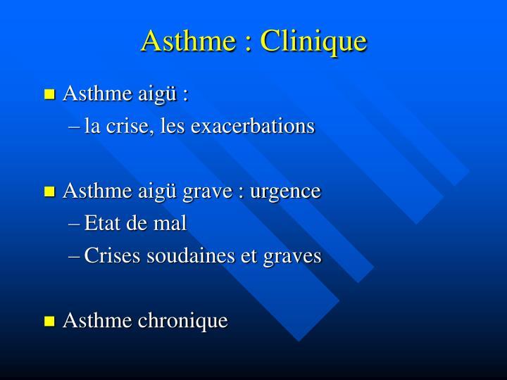 Asthme : Clinique