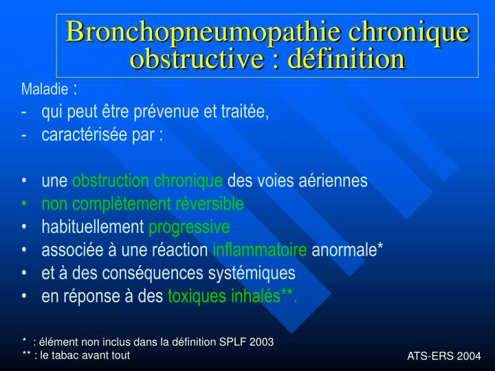 Bronchopneumopathie chronique obstructive d finition