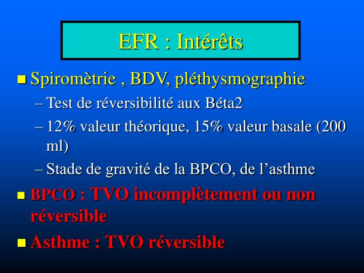 EFR : Intérêts