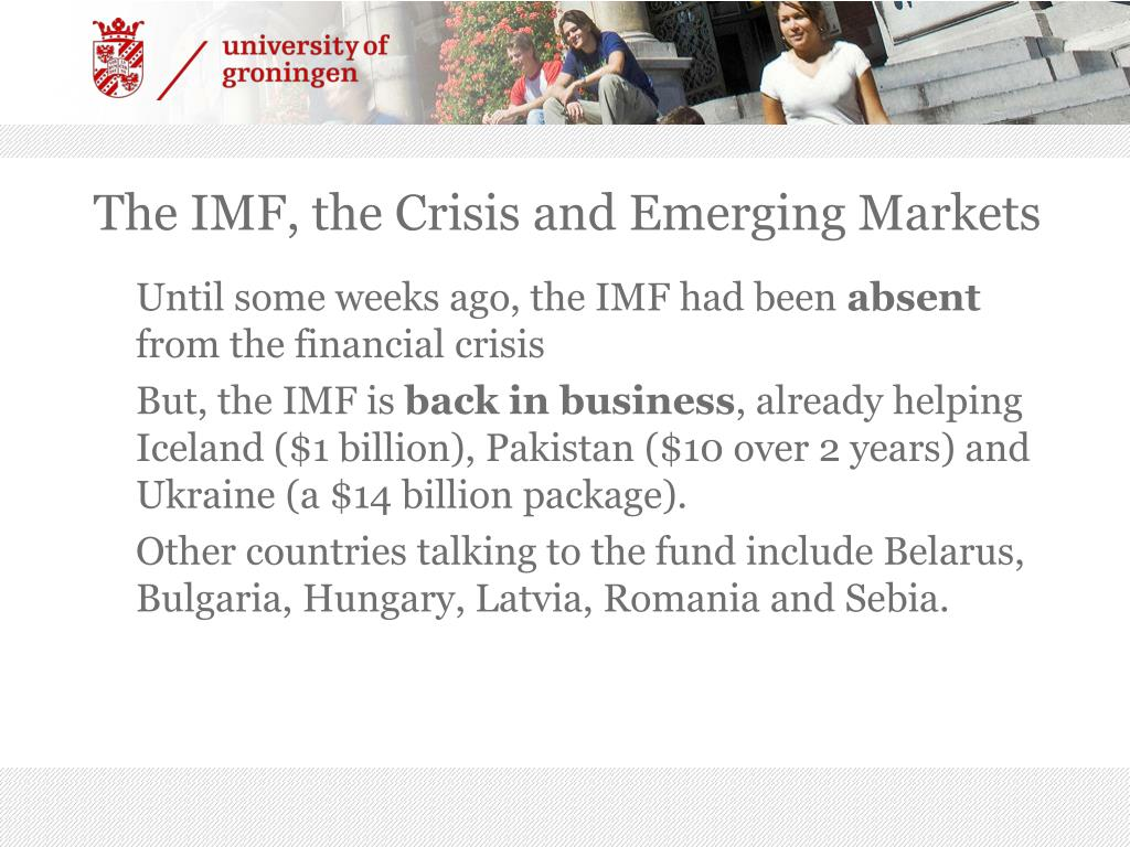 The IMF, the Crisis and Emerging Markets