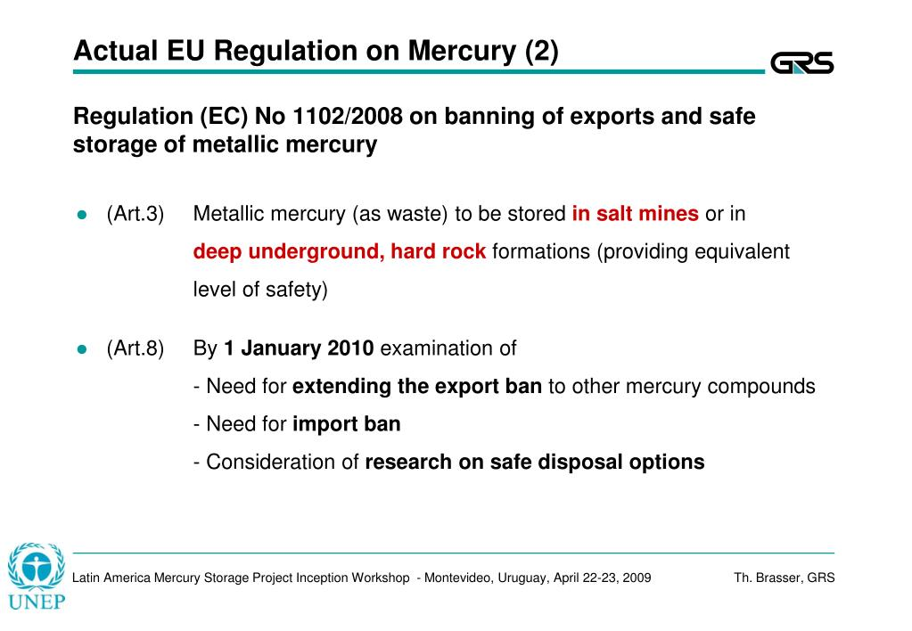 Actual EU Regulation on Mercury (2)