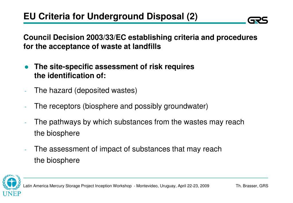 EU Criteria for Underground Disposal (2)