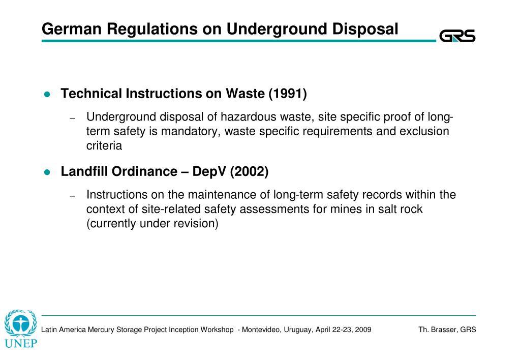 German Regulations on Underground Disposal