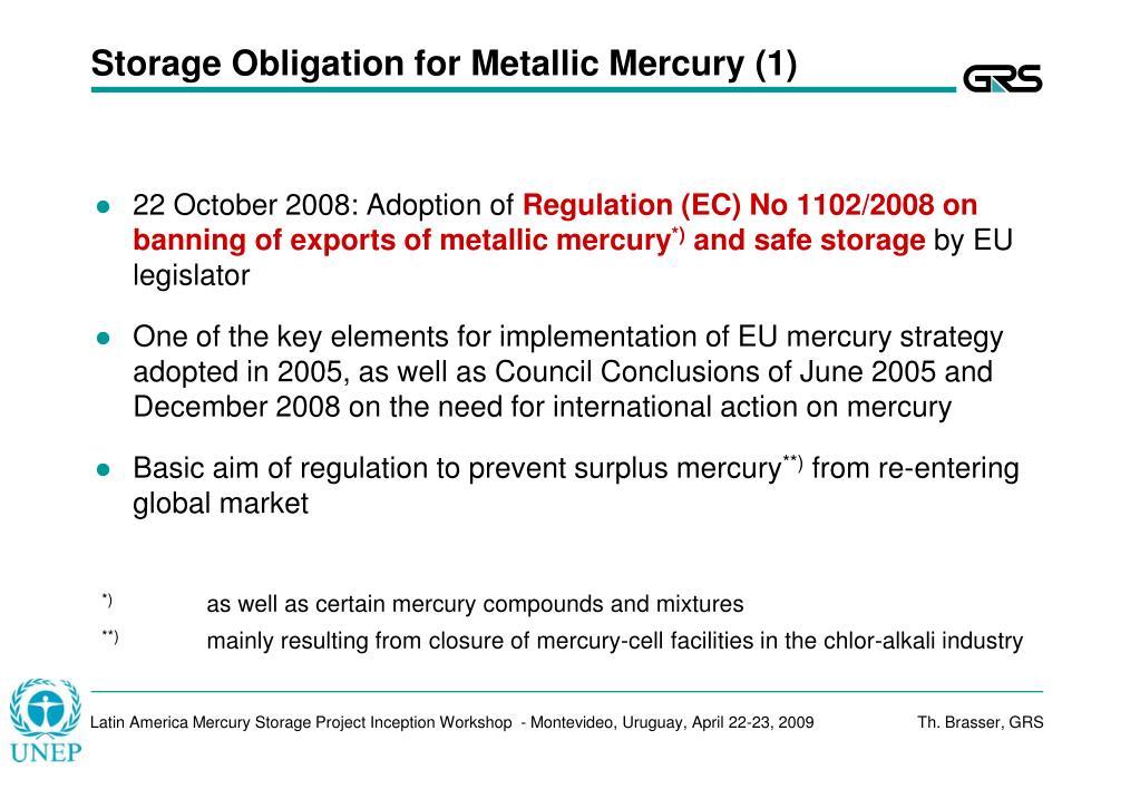 Storage Obligation for Metallic Mercury (1)