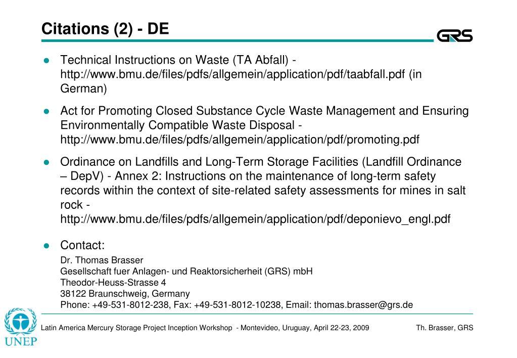 Citations (2) - DE
