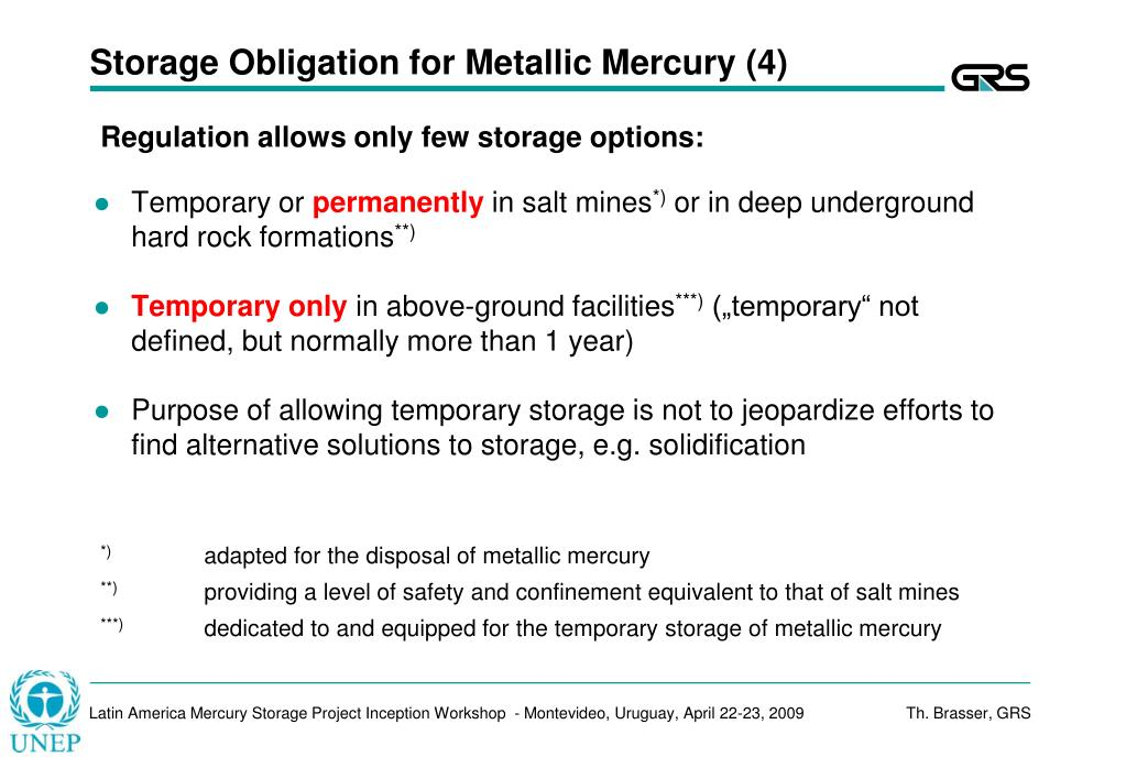 Storage Obligation for Metallic Mercury (4)