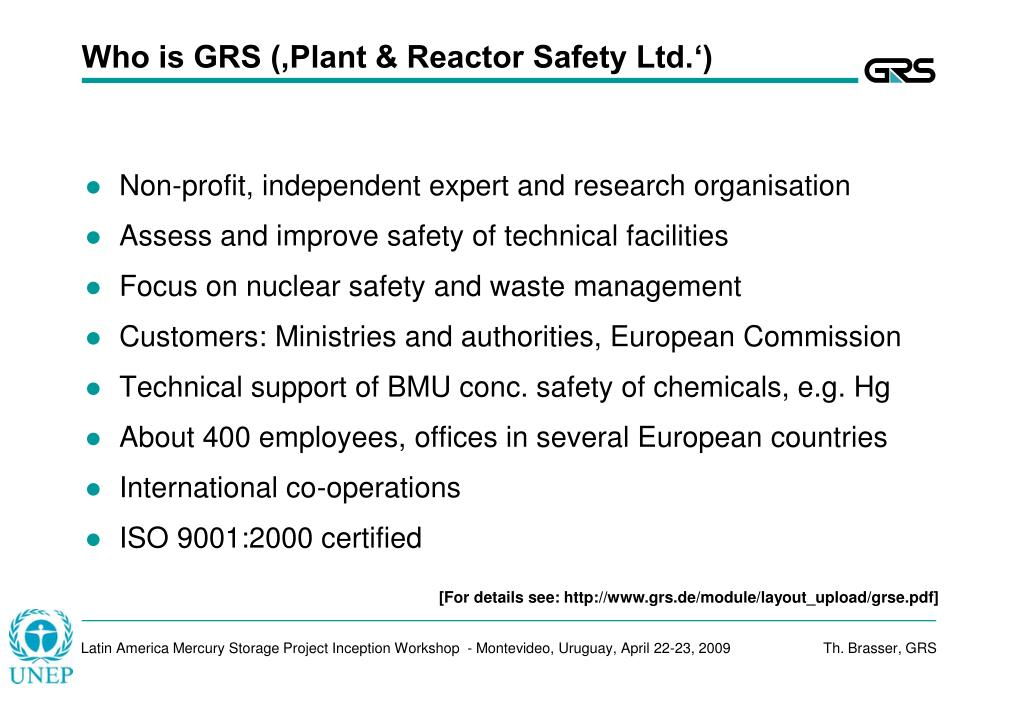 Who is GRS ('Plant & Reactor Safety Ltd.')