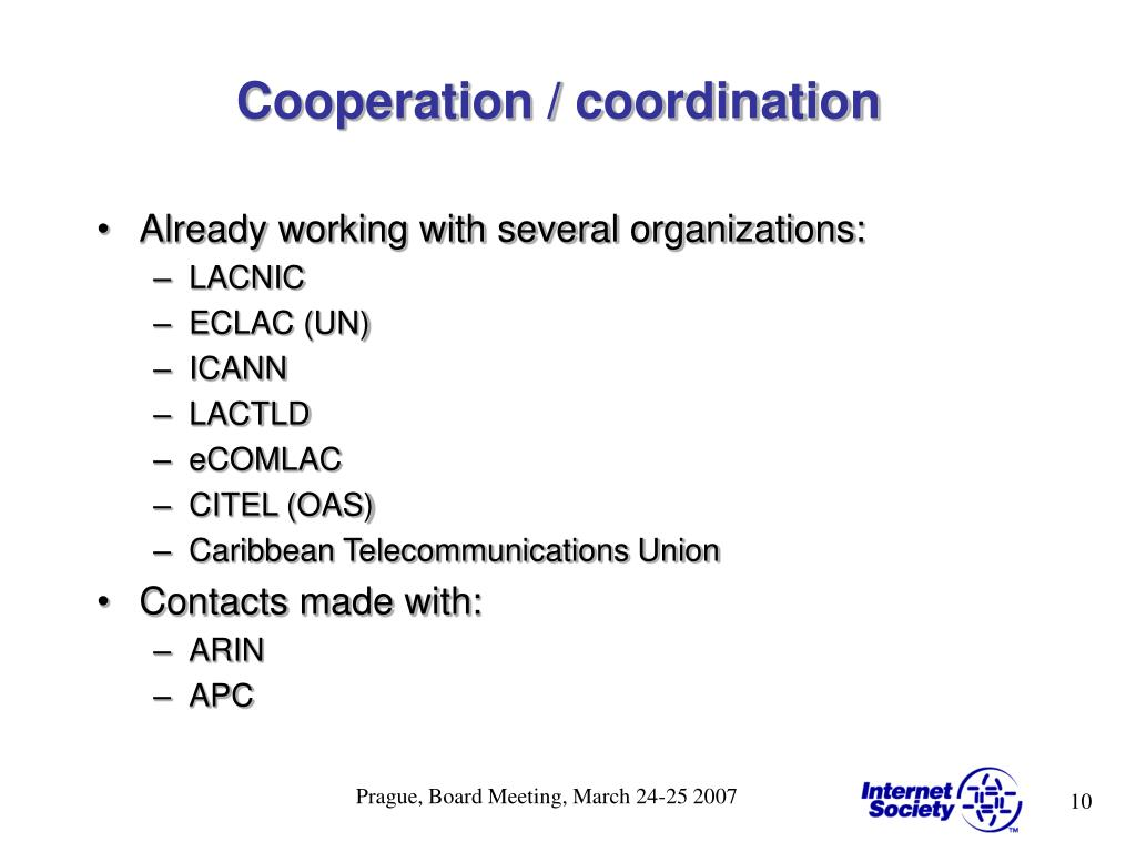 Cooperation / coordination