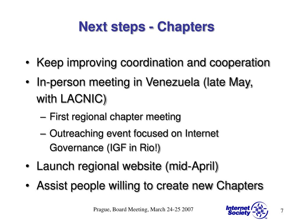 Next steps - Chapters