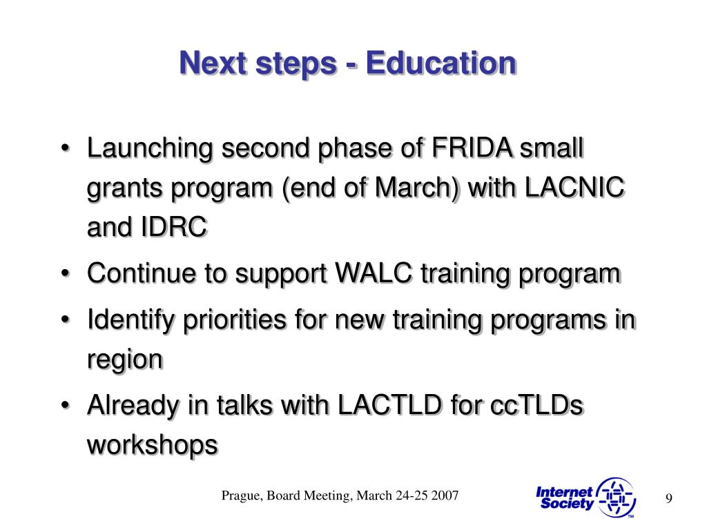 Next steps - Education