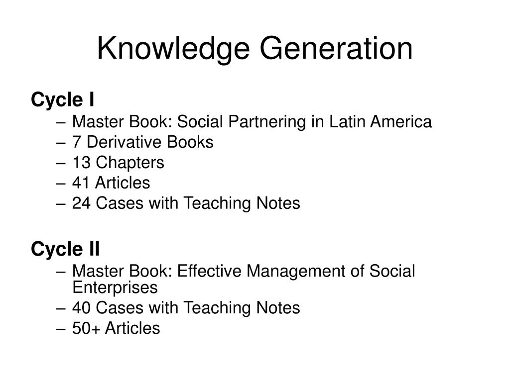 Knowledge Generation