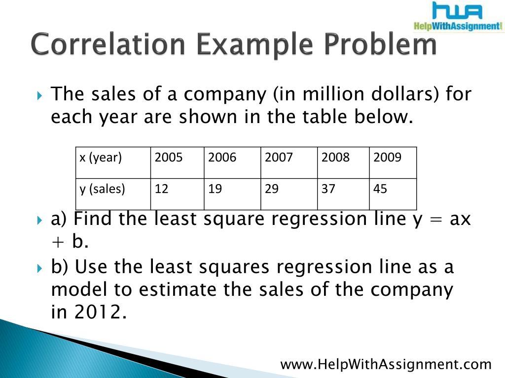 Correlation Example Problem