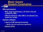 basic issues system constraints