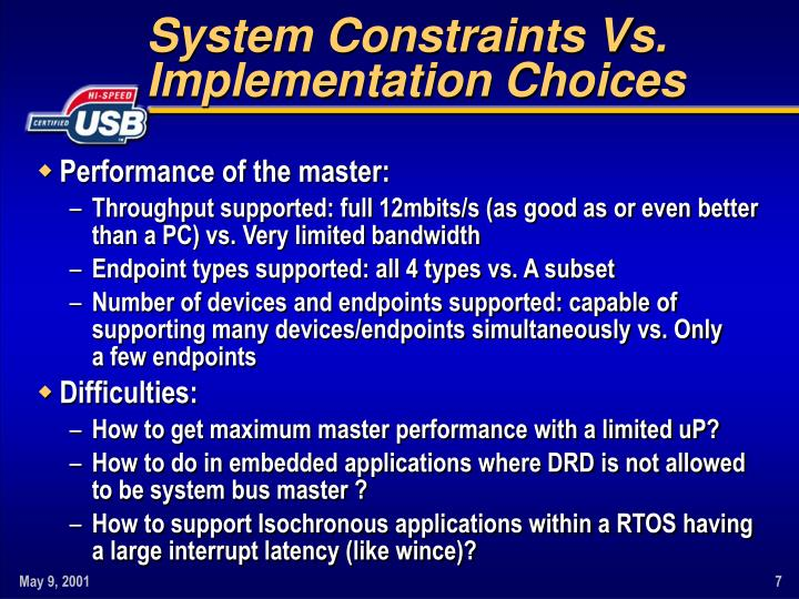 System Constraints Vs.
