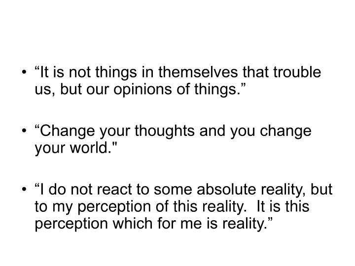 """It is not things in themselves that trouble us, but our opinions of things."""