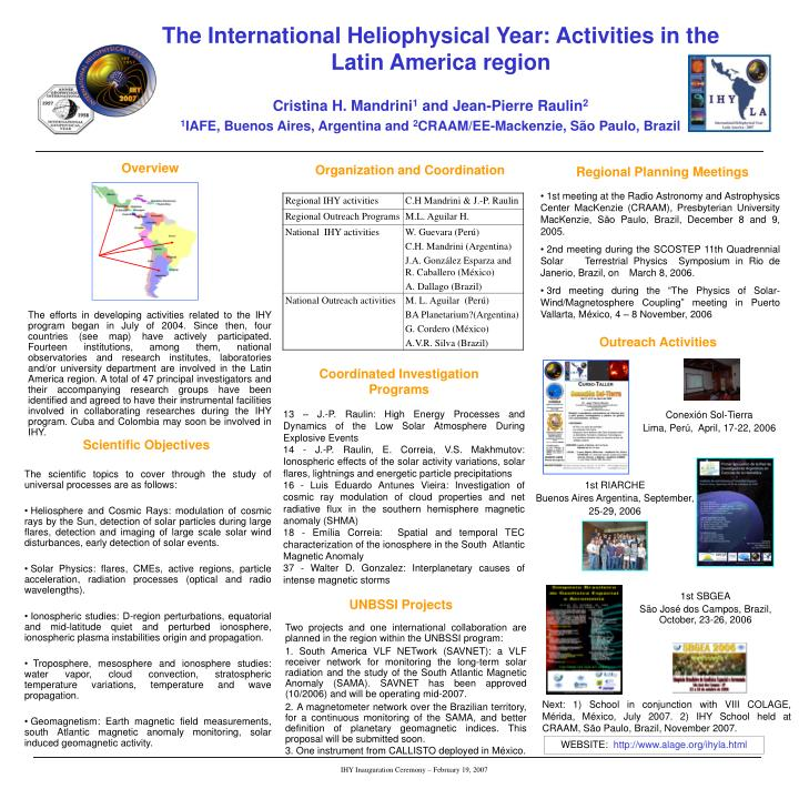 The International Heliophysical Year: Activities in the Latin America region