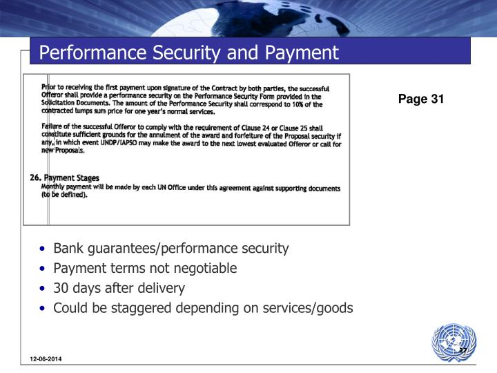 Performance Security and Payment