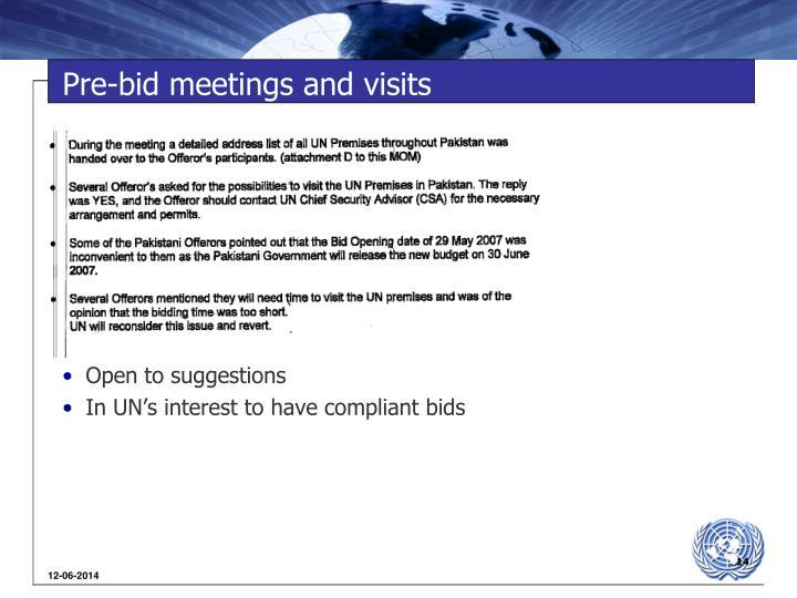 Pre-bid meetings and visits