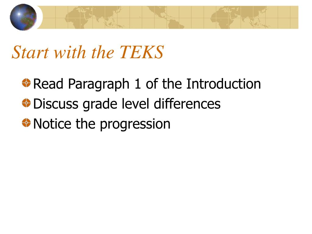 Start with the TEKS