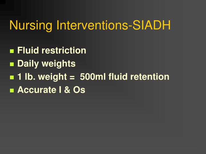 Nursing Interventions-SIADH