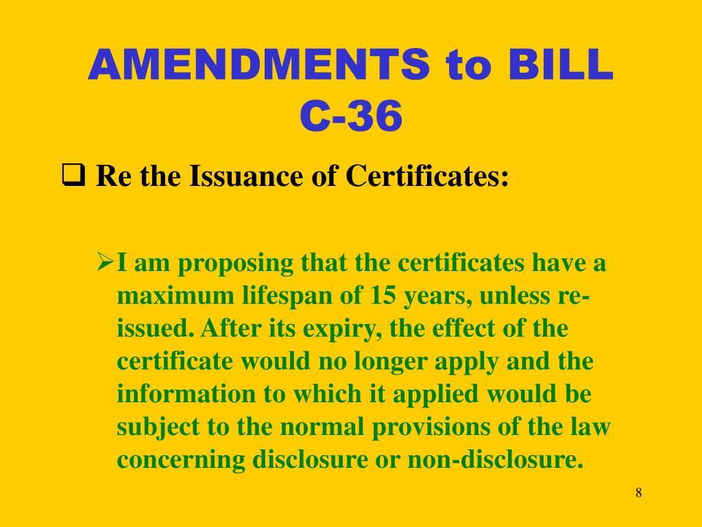 AMENDMENTS to BILL C-36