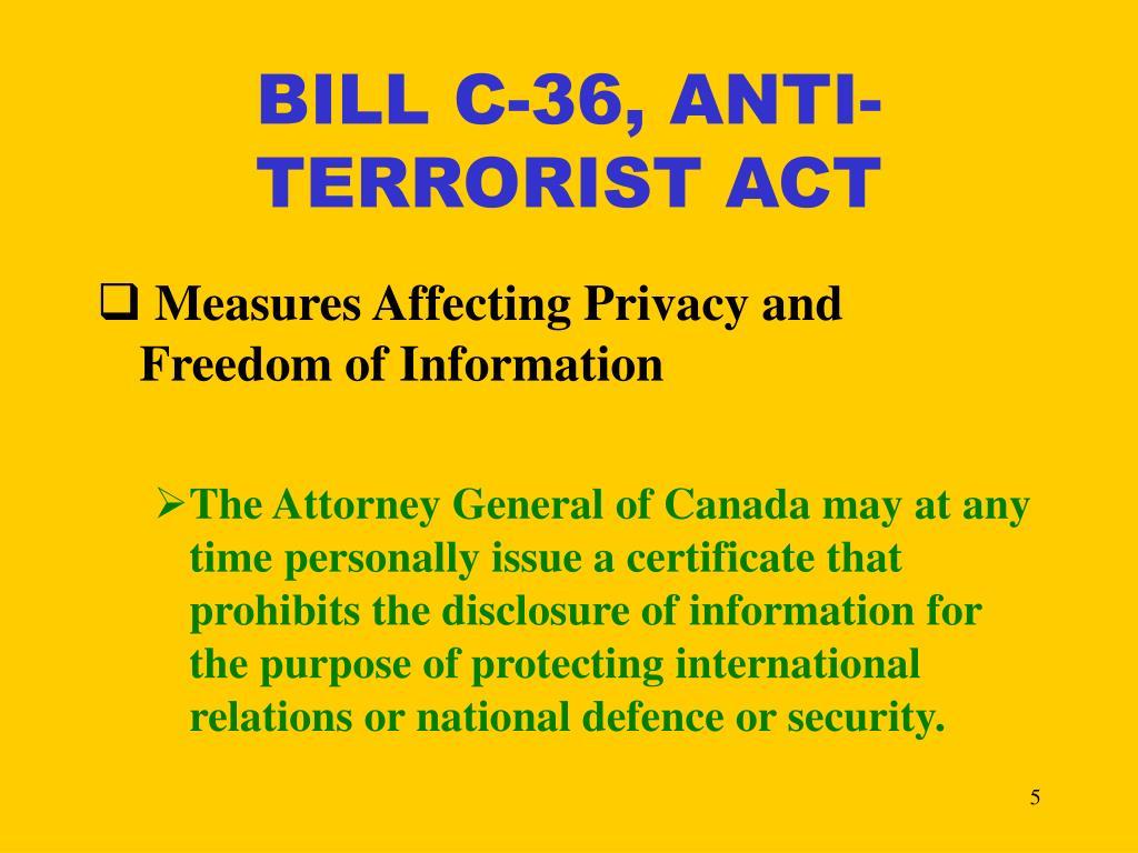 BILL C-36, ANTI- TERRORIST ACT