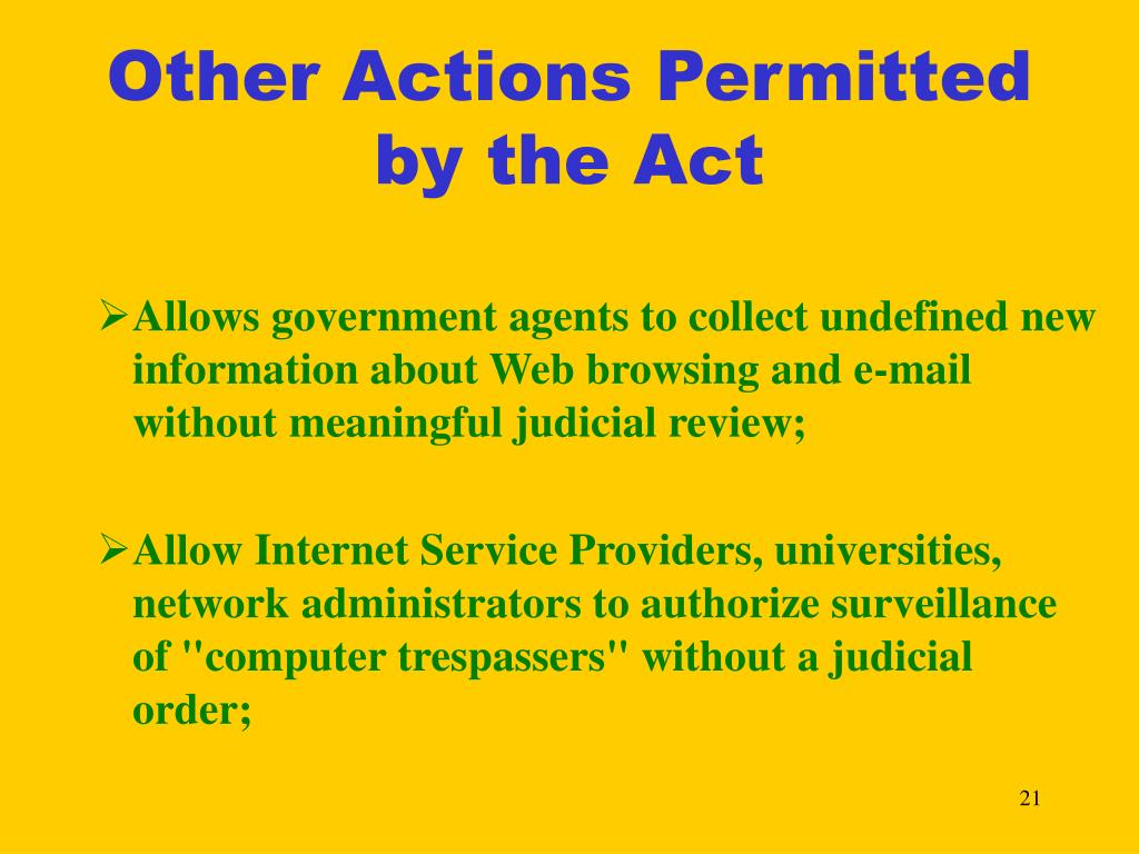 Other Actions Permitted by the Act
