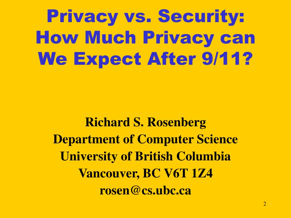 Privacy vs. Security: How Much Privacy can We Expect After 9/11?