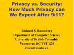 privacy vs security how much privacy can we expect after 9 11