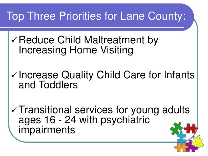 Top Three Priorities for Lane County: