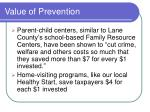 value of prevention