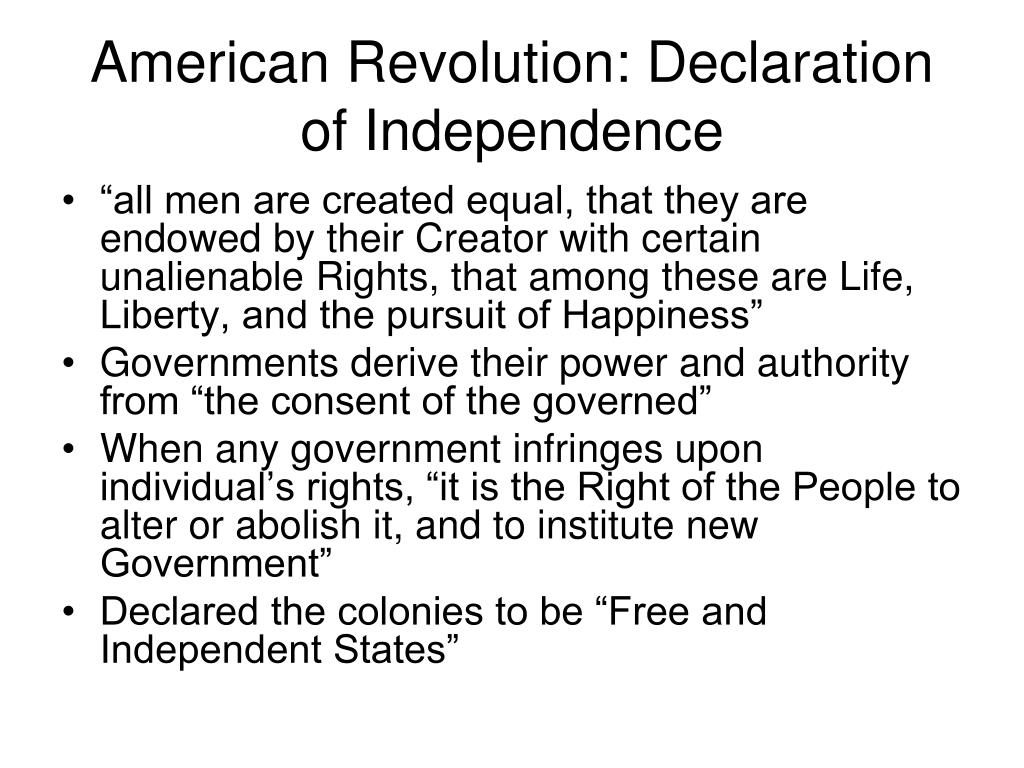 American Revolution: Declaration of Independence