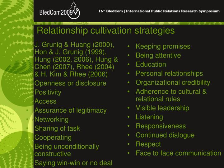 Relationship cultivation strategies