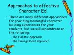 approaches to effective character ed