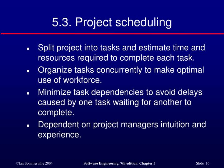 5.3. Project scheduling