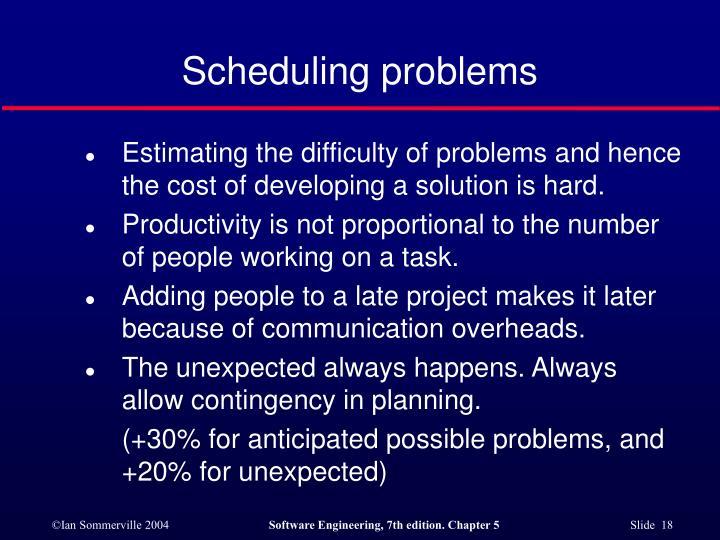 Scheduling problems