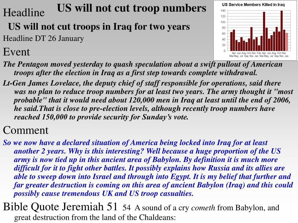 US will not cut troop numbers